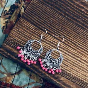 Bohemian Pink Dangling Silver Chandelier Earrings